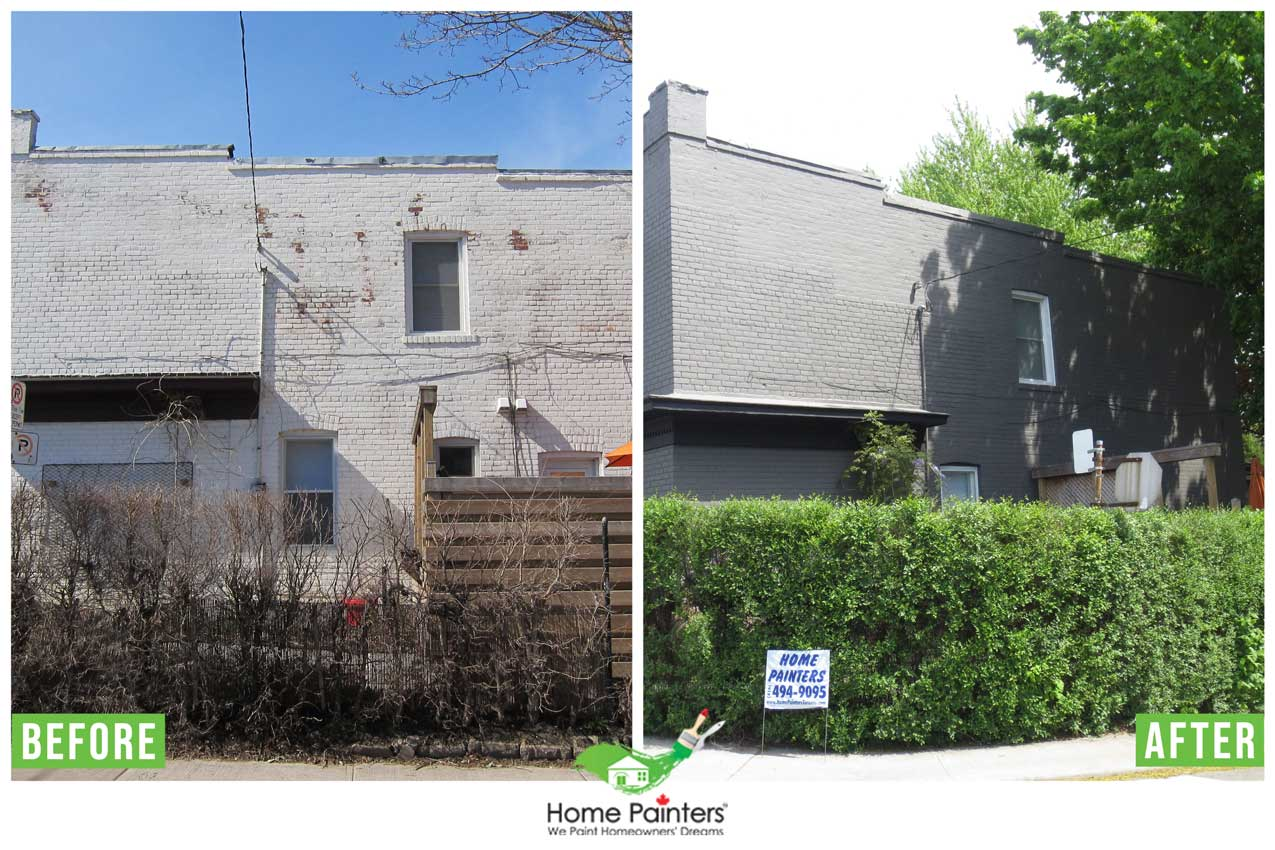 Before and after pictures for brick staining and painting on exterior of a residential house, cost to paint a brick house, is it better to stain or paint brick, how long does stained brick last, brick painters, staining brick house, stained brick exterior