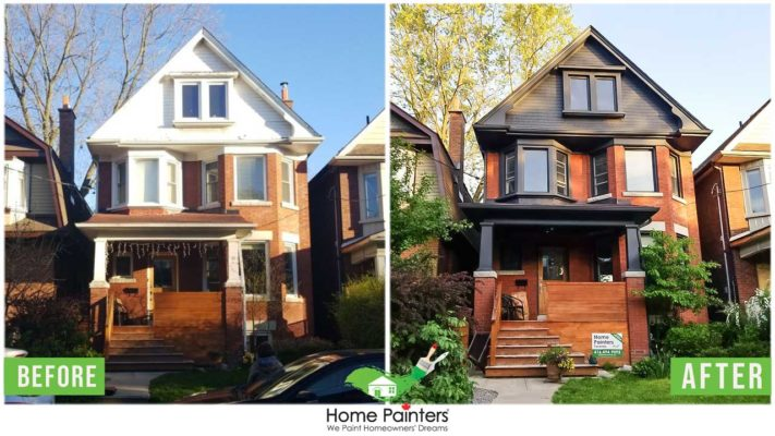 before and after painting of exterior aluminum siding and window trim on home in the gta painted by local toronto home painters