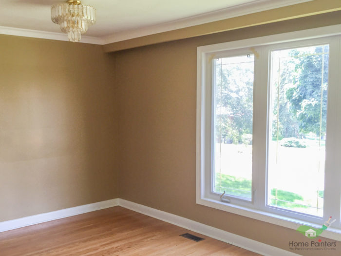 house in the gta with with oak wood floors and white baseboard and window trim painted by home painters service in the gta