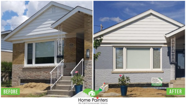 Before and after of a brick staining project home, from a dessert tan to modern gray colour brick stain by Toronto painting company Toronto painters