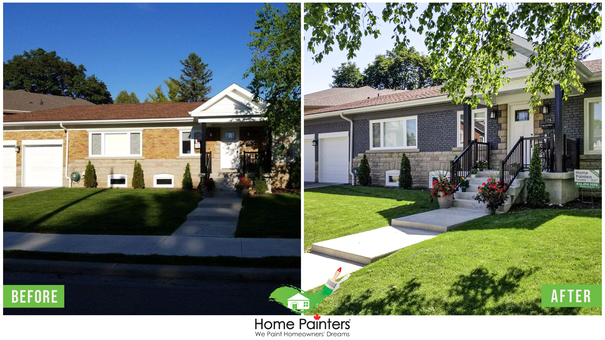 Before and after of a brick stained home, from a red brick to modern dark gray colour, donee by Home Painters toronto Toronto painting company