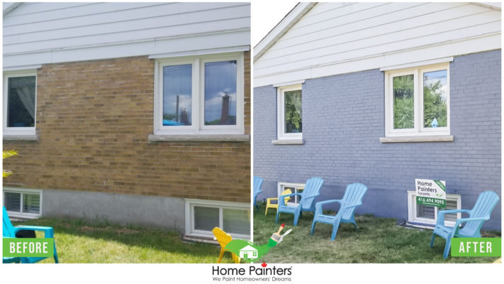 Awesome Before and after of a brick stained home, from a red brick to modern dark gray colour, done by Toronto painting company Home Painters toronto