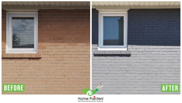 Before and after of a brick staining home, from a red brick to modern dark gray colour, made by Toronto painting company Home Painters toronto