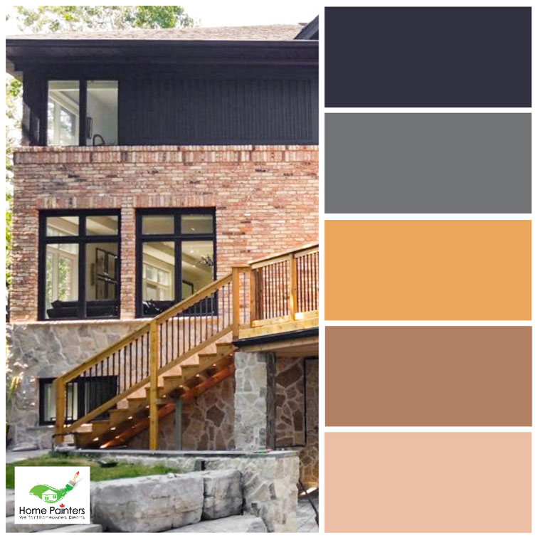 brick house with exterior wood trim painted charcoal grey to improve curb appeal, complementary colours, how to use a colour wheel