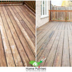 Transformation of exterior fence deck staining before and after by home painters toronto