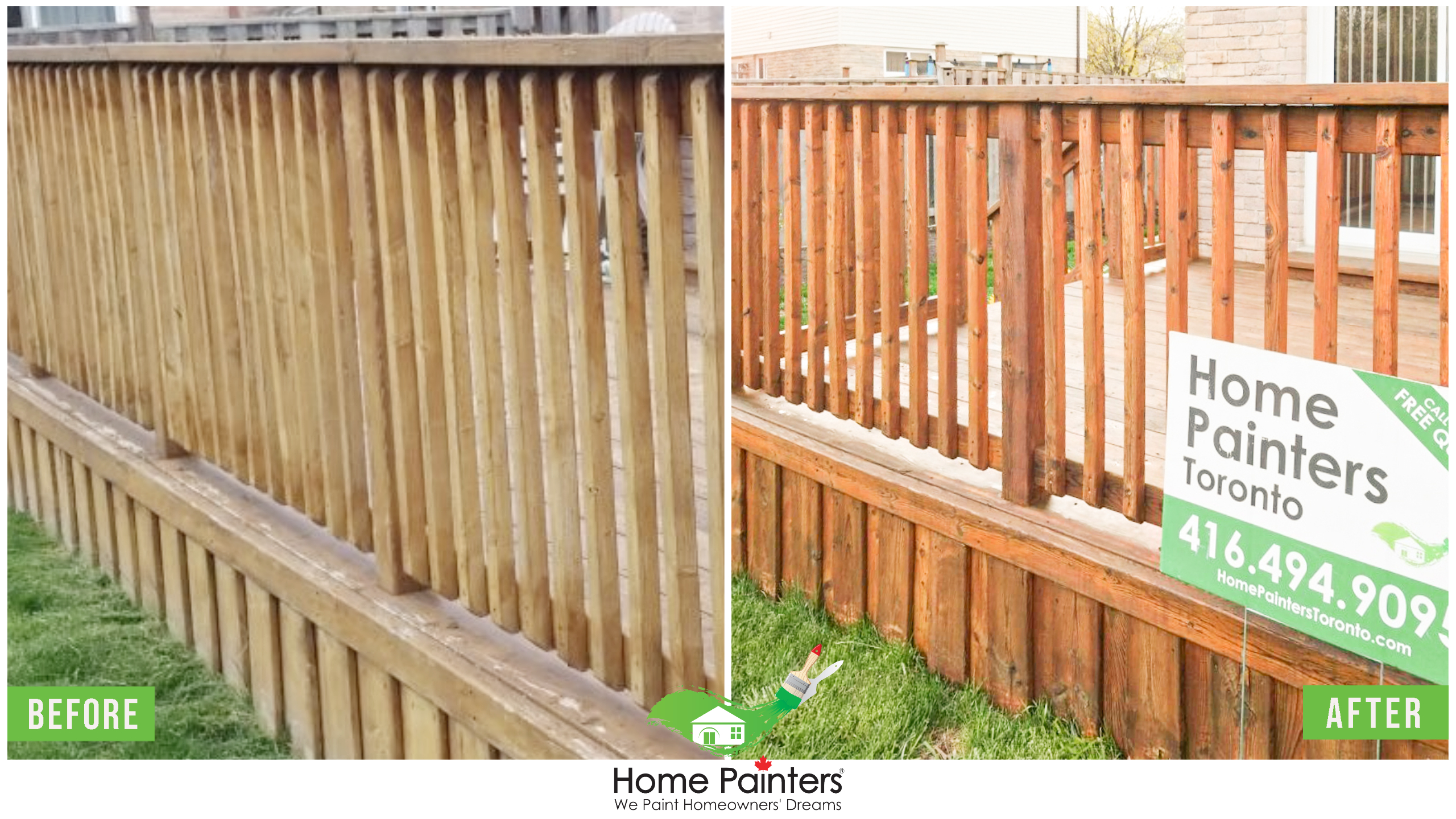 Transformation of exterior fence deck staining before and after by home painters toronto, outdoor painting, exterior painting, house painters toronto