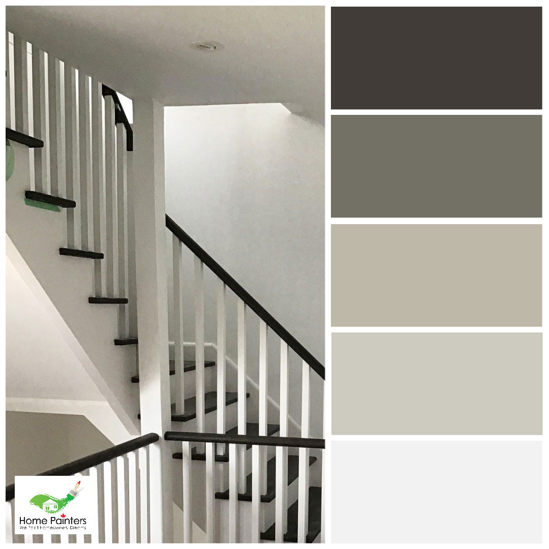 wrap around stairs painted black and white by house painters in toronto, neutral colour palette for stairs interior design inspiration