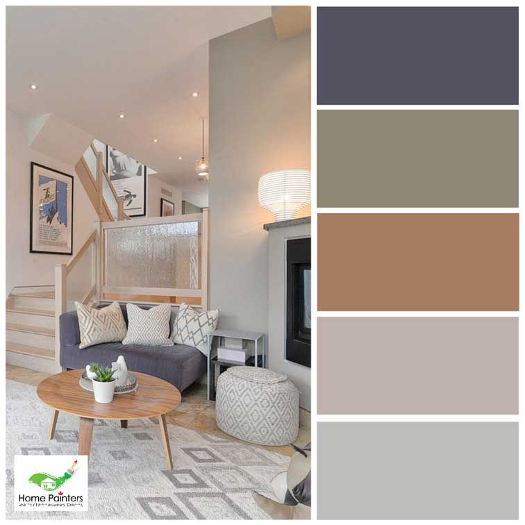 modern living room with netural colour palette painted taupe and grey by toronto city home painters