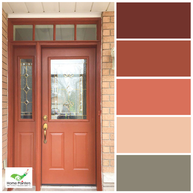 red brick house with painted wood door to improve curb appeal red tones colour palette