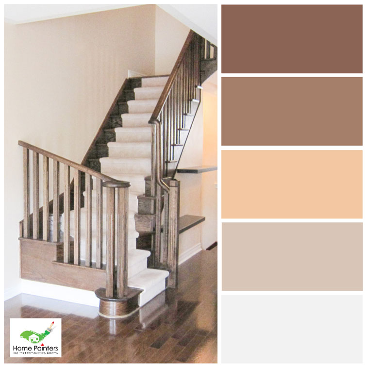oak stairs with dark staining and refurnished wood floors house painters in toronto