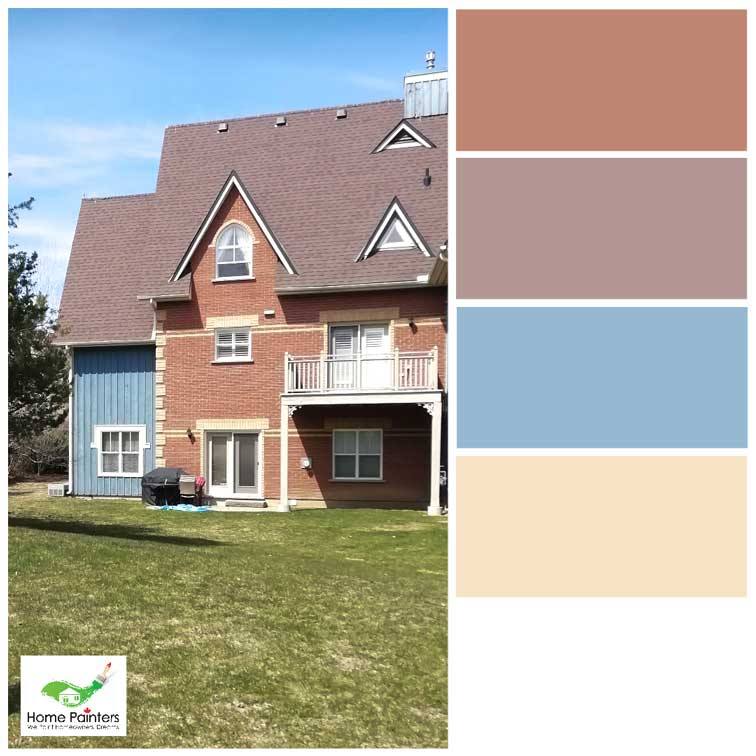 light colour palette for exterior design aluminum siding painted blue on red brick house
