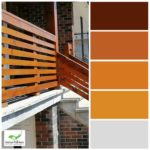 colour palette of front deck oak wood staining with concrete and red brick house toronto painting company