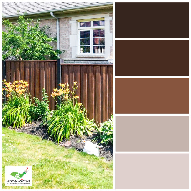 brown tones colour palette for exterior design fence staining house painters in toronto