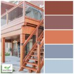 colour palette of oak wood staining upper deck with oak wood and iron stairs in backyard