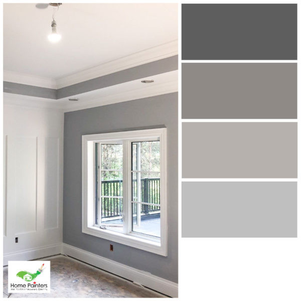 living room painted grey with white trim and refurnished floor house painters toronto, interior house painters, professional painters colour palette, complementary colours, interior painting company