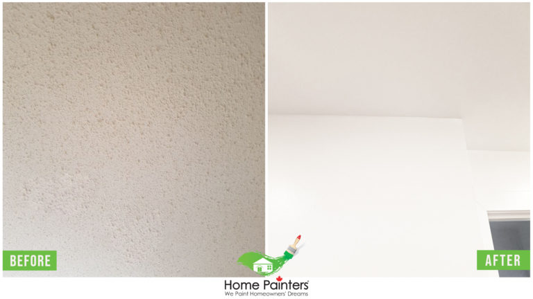 before and after image of ceiling painitng