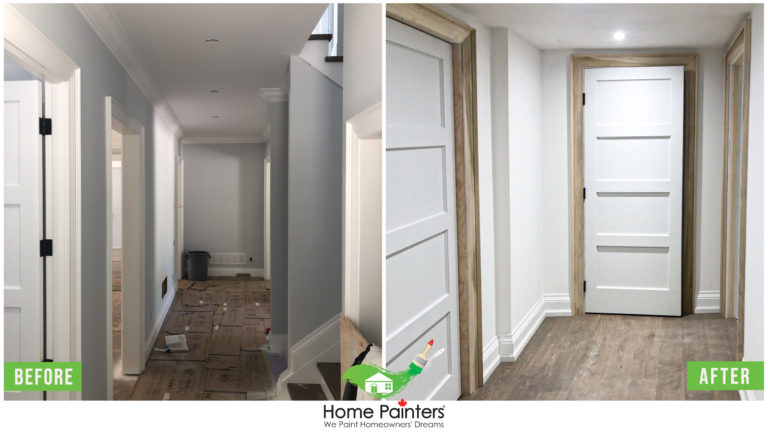 before and after interior white door painting