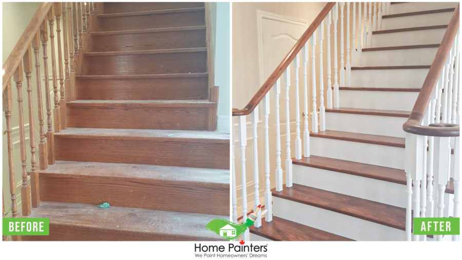 Before and after painting a of staircase and staining, Interior painting, Interior painters, Painting companies, Painting, residential house painting