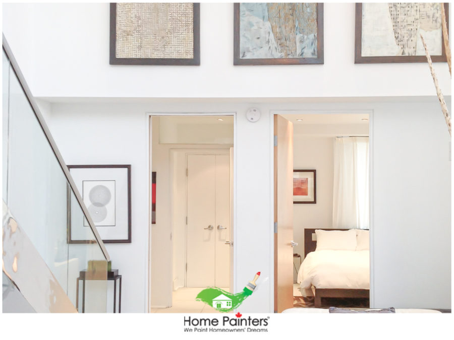 interior painting of modern condo with three painting