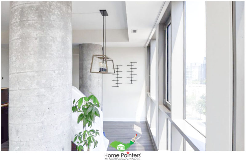 condominium with cement pillars and dark hardwood floors, how much does it cost to paint a two bedroom condominium in toronto; interior painters Toronto; Toronto painting company