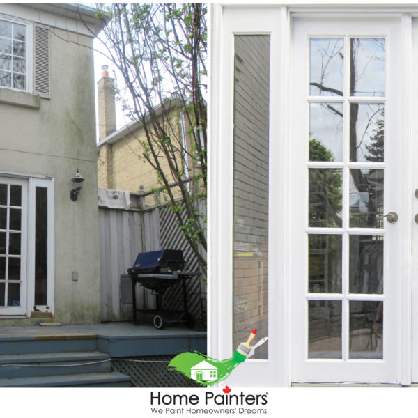 Handyman carpentry white before and after of close up of back door, , Exterior painting, Exterior painters, Painting companies, Painting, residential house painting, exterior paint