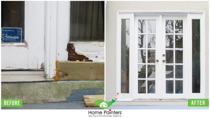 white wooden exterior trim by Toronto painting company Home Painters Toronto