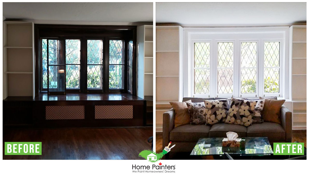 Before and after picture of interior painting in living room with sofa set and furniture, Interior painting and staircase wallpaper painting project by Home painters toronto, Interior painting in toronto, stair staining