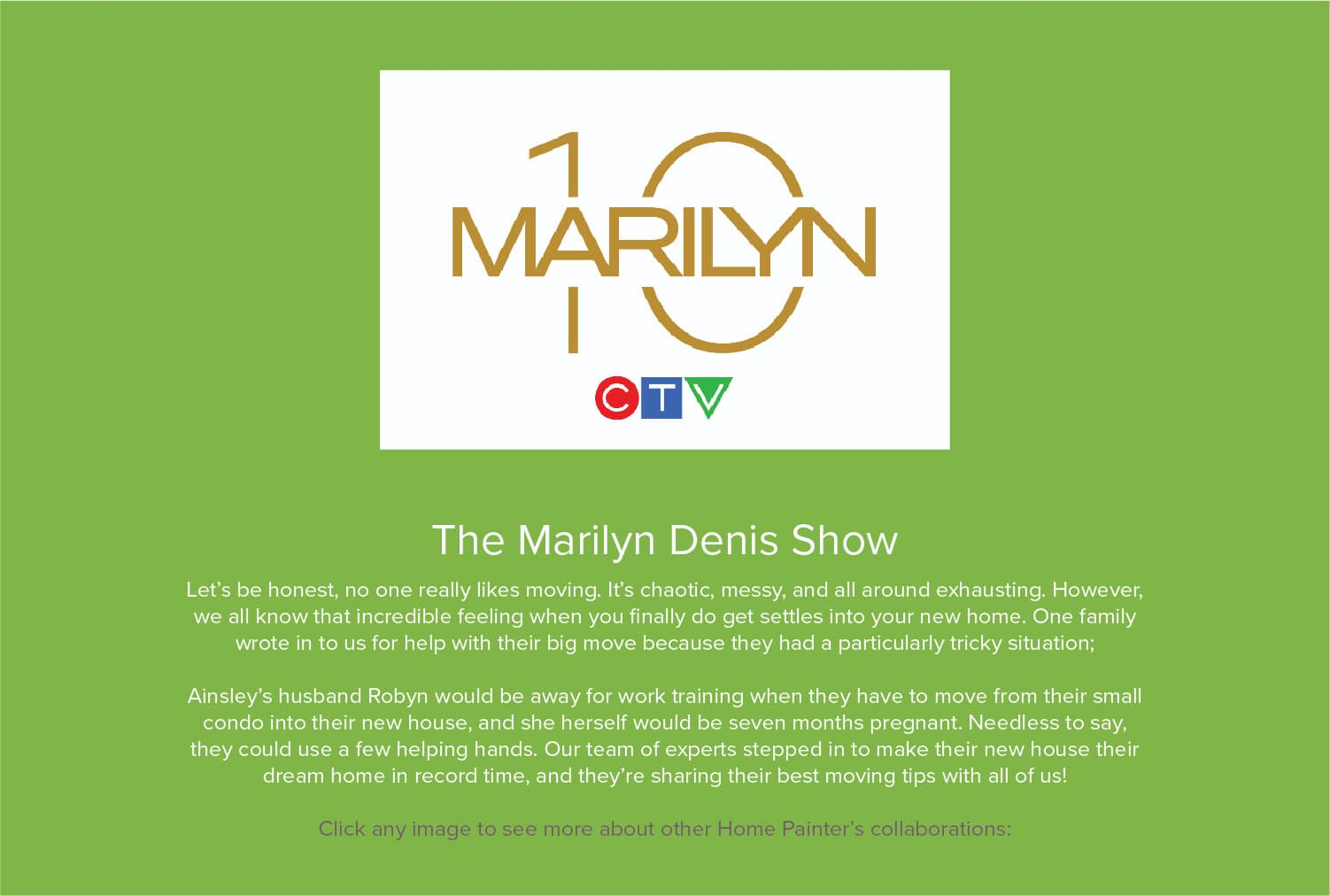 Home painter's collaboration with The Marilyn Denis Show