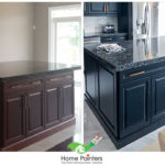 before and after of dark painted cabinets by painting company home painters toronto