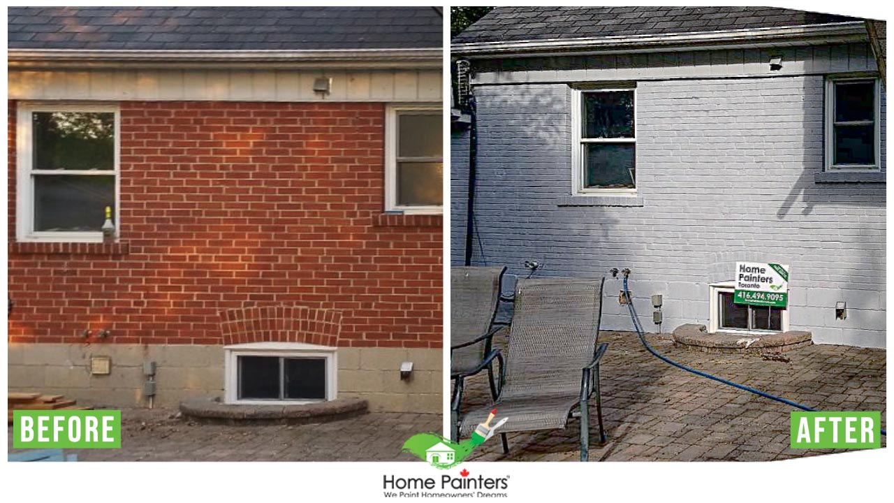Staining brick before and after from red bricks to gray bricks, by home painters toronto