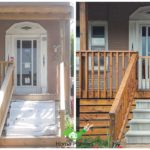 before and after picture of deck stair staining home painters toronto