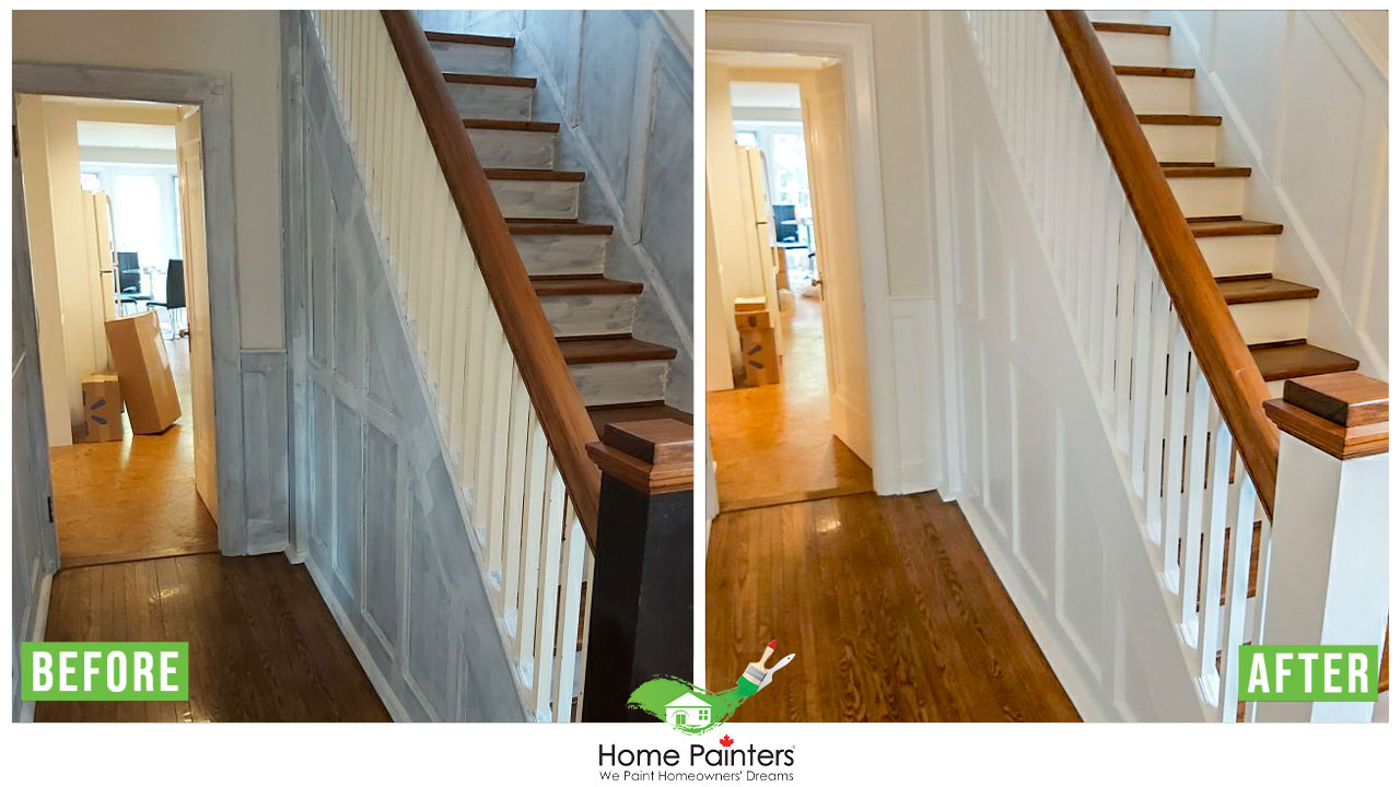 Interior residential house painting service of wallpaper removal from staircase